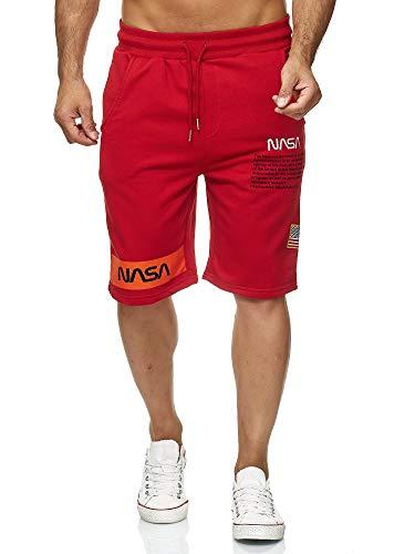 Red Bridge Herren Shorts Kurze Hose Sweat Pants Jogginghose NASA Logo USA M4854 Rot L (Denim Herren Bestickt)
