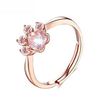 Damen-Ring ANGGO Verlobungsring Katze Bärentatze Ring Niedlichen Kristall 925 Sterling Silber Rose Gold plattiert Haustiere Fußabdrücke Ring