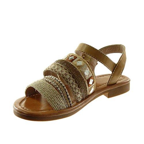 Angkorly Chaussure Mode Sandale Lanière Cheville Folk BI-Matière Femme Multi-Bride Fantaisie Strass Diamant Talon Bloc 2 cm Beige