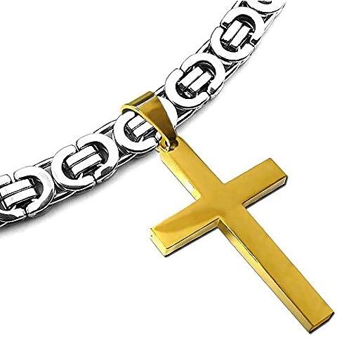 24' sólido collar de eslabones de cadena bizantina con o sin + + Cruz colgante pulsera de regalo