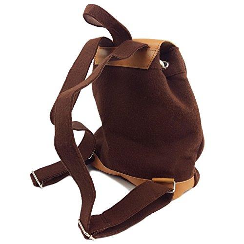 4594796ea9dde ... Venetto Designer Rucksack aus Filz und Leder Elementen sehr leicht  backpack unisex (Grau) Braun ...