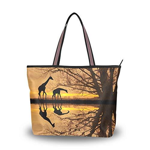 Emoya Handtasche Giraffe im afrikanischen Wald Sonnenuntergang Damen Fashion Schultertasche Hobo Tragegriff Portemonnaie M, Mehrfarbig - multi - Größe: Medium (Hobo Giraffe)