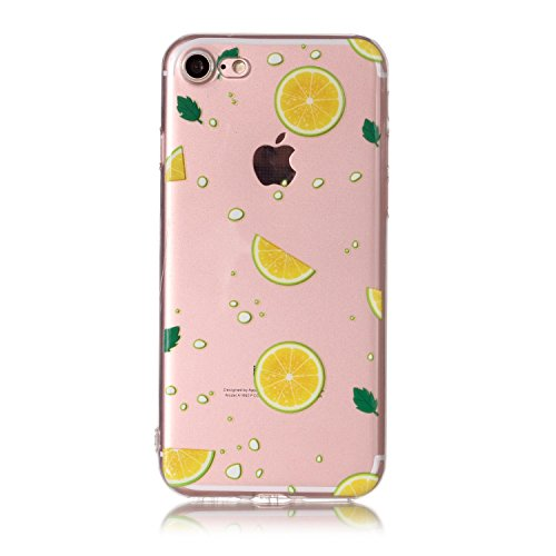 Cover iPhone 7 Spiritsun iphone Custodia TPU Moda Elegante Case Cover Soft Silicone Back Cover Protezione Bumper Funzione Shell Morbida Flessible TPU Cover Per iPhone 7 (4.7 Pollici) Phone Custodia -  Limone