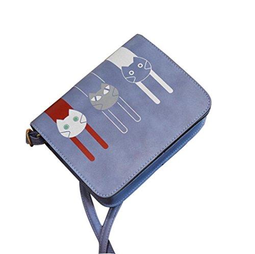 sunnymi Mode Frauen Katze ★ Handtasche Umhängetasche ★Messenger Großer Tote Leder Damen Geldbörse (blau) (Medium Handtasche Tote Schmuck)