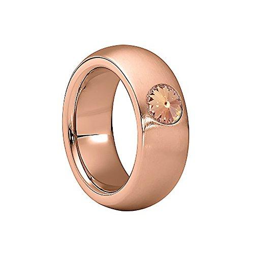 Heideman Ring Damen Coma 8 aus Edelstahl Rosegold farbend matt Damenring für Frauen mit Swarovski Stein Kristall Light Peach im Fantasie Edelsteinschliff 6mm