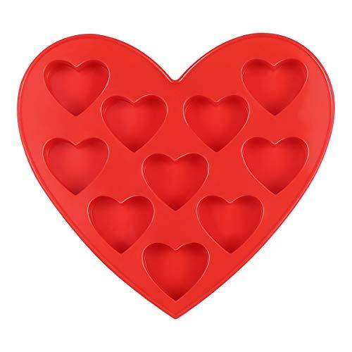 BESTOMZ Herz Form Silikon Formen und Eiswürfelbereiter 10-Teiliges Set, Pralinenformen, Schokoladen-Formen für Valentinstag