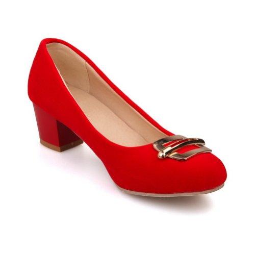 BalaMasa da donna chiuso punta arrotondata e Kitten Heels Solid pompe Red