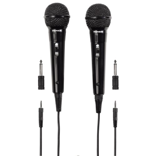 Thomson M135D 2x Dynamisches Mikrofon (Doppelpack, Nierencharakteristik, 3,5 mm Klinkenstecker, Kabellänge 3 m) schwarz