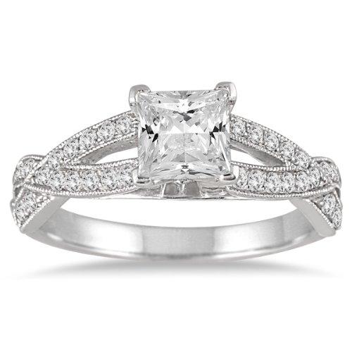 11/3carat TW Coupe Princesse en diamant en or blanc 14K