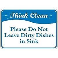 Monsety Garage Valla Sign Think Clean Please Do Not Leave Dirty Platos en el Fregadero Placa