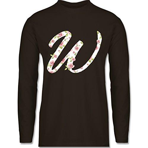 Anfangsbuchstaben - W Rosen - Longsleeve / langärmeliges T-Shirt für Herren Braun