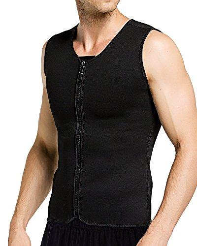 Men Hot Neoprene Workout Sauna Tank Top Zipper Waist Trainer Vest Weight Loss Body Shaper Compression Shirt Gym Clothes Corset by Aliver (3XL)