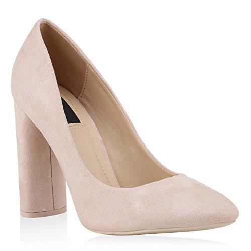 Stiefelparadies Damen Klassische Pumps High Heels Elegante Blockabsatz Schuhe 144775 Rosa Basic 36 Flandell