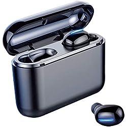 Ecouteur Bluetooth, Ecouteur sans Fil TWS HiFi Stéréo 2600mAh Etui de Charge, Oreillette Bluetooth 5.0 Etanche IPX7 avec Mic CVC 8.0 Réduction du Bruit, Écouteurs Bluetooth Sport pour iOS,Samsung,Sony