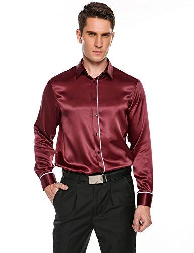 Coofandy herren lässig langarm hemd aus satin - l ä nzenden luxus