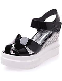 AllhqFashion Mujeres Peep Velcro Cuero De Vaca Sólido Plataforma Sandalia