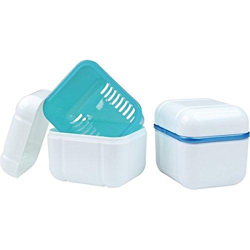 wellsamed wellsabox Prothesenbox 3-teilig mit Einsatz, Sieb, Prothesendose, Zahnspangendose, Reinigungsbox, Retainer Box, Dentalbox, Gebissdose