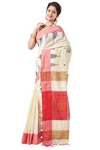 Slice Of Bengal Handloom Tangail Silk Cotton Jamdani Saree White 101013001472