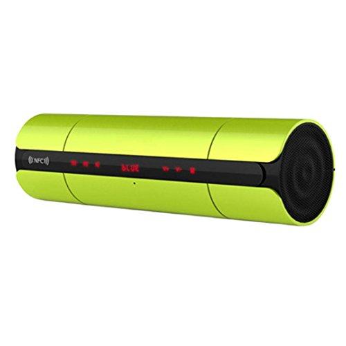 Fulltime® Bluetooth Lautsprecher NFC Wireless Dual-Lautsprecher Stereo-Sound Bar Touch Control TF / SD-Karte AUX-Radio für Smartphones und anderen Bluetooth-Geräten, 23 x 6,5 x 6,5 cm (Grün)