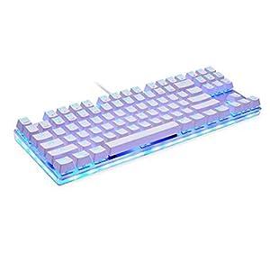 Mechanische Tastatur, RGB-Hintergrundbeleuchtung Metall Kabel Spiel Esport Tastatur 87 für Windows-PC Gaming-Desktop/Computer