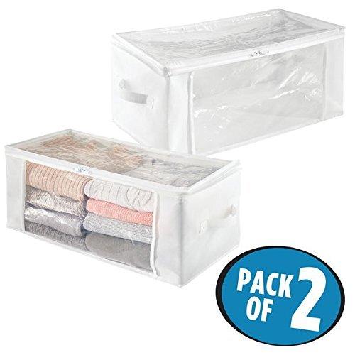 mDesign Juego de 2 bolsas para guardar ropa con cremallera – Guarda mantas alargado de polipropileno – Organizadores de armarios plegables para prendas y edredones – blanco/transparente