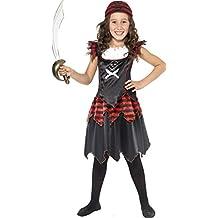 "Smiffy's - Disfraz de pirata ""Skull and Crossbones"" para niña (32341L)"