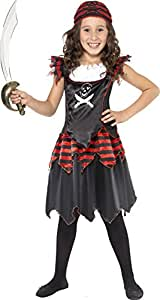 Smiffys Kinder Pirat Totenkopf und gekreuzte Knochen Mädchen Kostüm, Kleid und Kopftuch, Größe: S, 32341