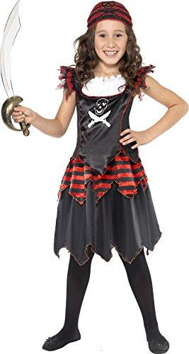Smiffys Kinder Pirat Totenkopf und gekreuzte Knochen Mädchen Kostüm, Kleid und Kopftuch, Größe: M, 32341 (Kinder Piraten Kleid)