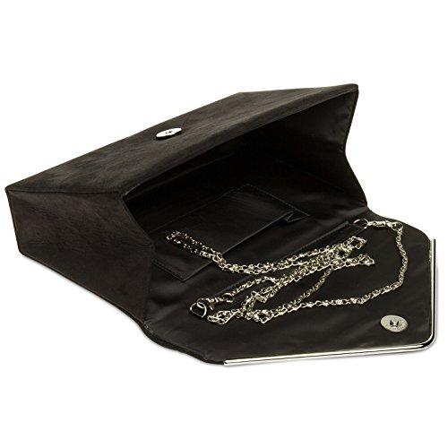 Damen Abendtasche Clutch Kette elegante CASPAR Velours TA356 Tasche mit Envelope Textil Schwarz langer Ac5yxnSq1