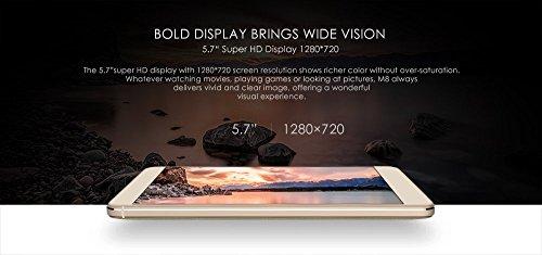 LEAGOO M8 - 5.7 pulgadas 2.5D IPS Corning Gorilla Glass 4 Phablet Android 6.0 teléfono inteligente Quad Core 1.3GHz 2GB RAM 16GB 8MP + 13MP Cámara Huella digital - Gris negro