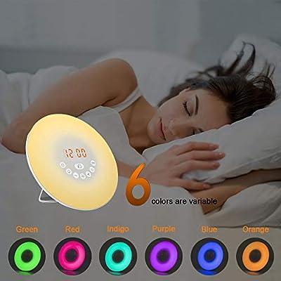 LED Lichtwecker, solawill Wake Up Licht FM Radio Snooze Funktion 6 Natural Sounds 10 Einstellbare Helligkeit Bunte Lichter Touch Control Lichtwecker für Haus Schlafzimmer Geschenk von solawill