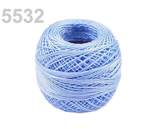 10pc 5532 Cachemira Azul Bordado Algodón Perla Hilo