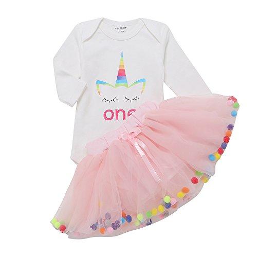 IEUUMLER Baby Mädchen Kleidung Set 2 Stück Romper Rock,Tütü Pettiskirt 1. Geburtstag Geschenk Outfits Verkleidung IU-E (3-6M) (2 Baby-mädchen-kleidung Stück)