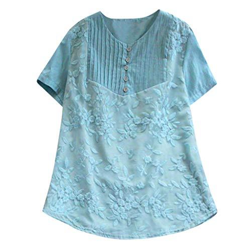 ESAILQ Frau LäSsige Lose Feste Oansatz Shirt Kurzarm Baumwolle Stickerei Top(XXXXX-Large,Blau)
