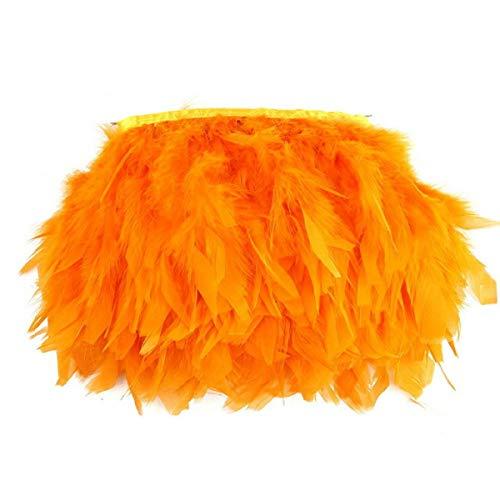 Yalulu 2 Meter Feder Fringe Trim Gürtel Federborte Band Federbesatz Federfranse Nähen Kostüm Deko (Orange)