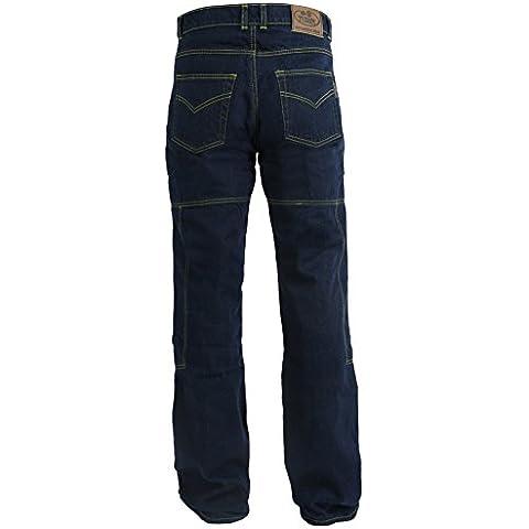 Pantalones vaqueros de motorista para hombre - Con protectores homologados por la CE - Kevlar 280 gsm de Dupont - Azul - W40''