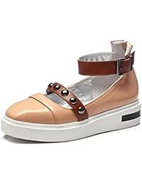 QPYC Zapatos de mujer solos a prueba de agua Taiwán gruesa inferior boca baja cinturón trasero cremallera hebilla...