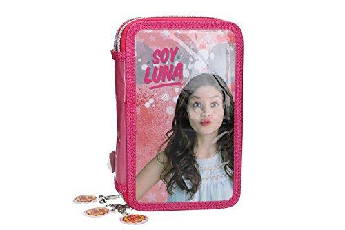 Soy luna astuccio scuola rosa triplo 3 zip completo di accessori vz584