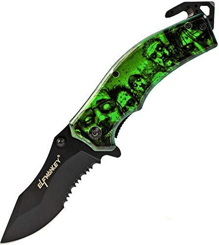ELFMONKEY Klappmesser Zombie Apokalypse Design | Survival Outdoor Taschenmesser | Sägeklinge Einhand-Rettungsmesser