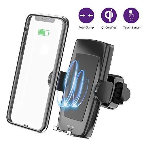 Wireless Charger KFZ Halterung, Automatische Qi Handy Auto Halter Belüftung 10W/7.5W und Standard 5W Kabelloses Ladegerät für iPhone XS/Xs Max/XR/X/ 8/8 Plus, Samsung Galaxy S10 /S10+/S9 /S9+/S8 /S8+