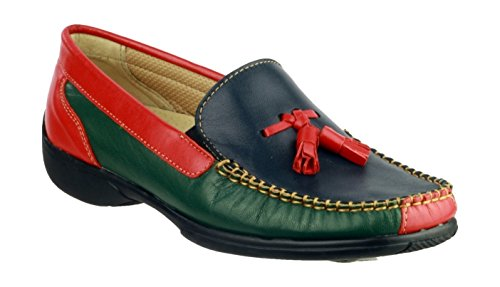 Cotswold Ladies Biddlestone Slip On Leather Moccasin Shoe Black Multicolore