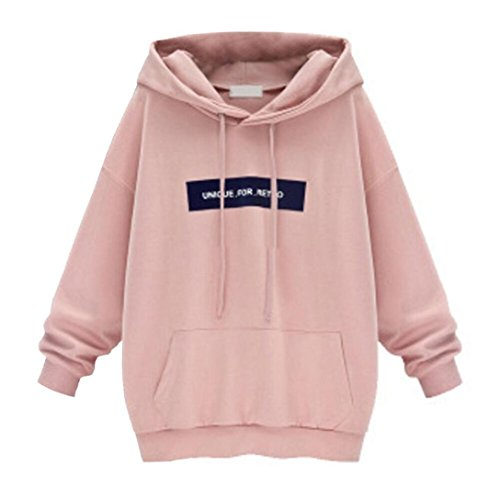 Chemisiers T-Shirts Tops Sweats Blouses,Femme Pull à Capuche à Manches Longues Chemise Pull-Over Chemisier pink