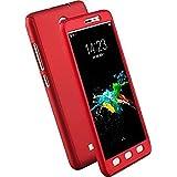 Full Body Protection 360 Degree Hard Case Hybrid Front + Back Case Cover & Tempered Glass For VIVO V5+ Vivo V5 Plus - Red