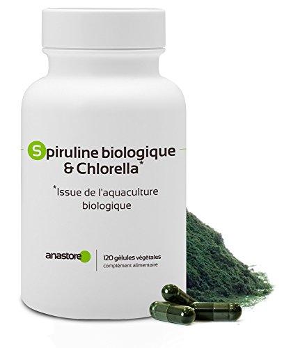 Spiruline biologique & Chlorella * 400 mg/120 gélules * Deux micro-algues pour un effet multivitamines * Fabriqué en France