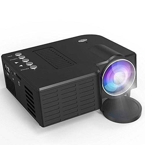 1800 Lumen LCD Mini Beamer, LeBenDehen Home MulitMedia Theater Cinema Video Projector Unterstützt 1080P, HDMI, USB, VGA, AV for Home Cinema, TVs, Laptops, Spiele, Smartphones