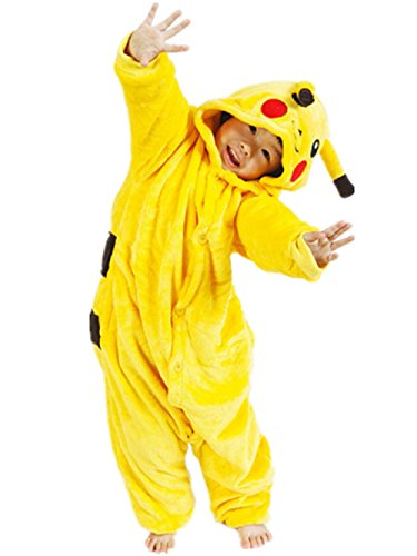 Pikachu Mädchen Kostüme (KostüM Gelb Pokemon Pikachu Karneval GrößE 95 (5-6 Jahre) FüR Pyjamas)