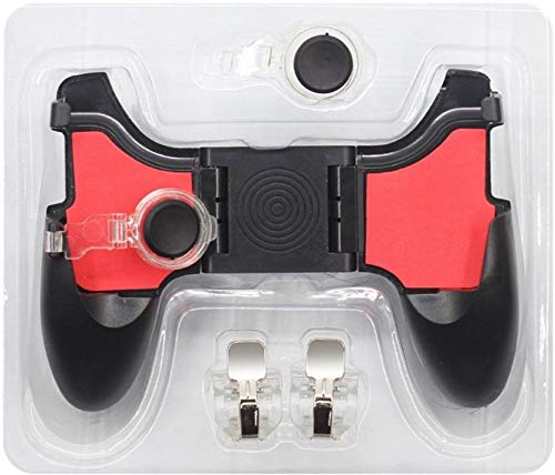 BLENDIA 5 in 1 Mobile Gamepad Trigger for PUBG (Android/iOS) Gaming Accessory Kit (Red, Black, for Android, iOS)