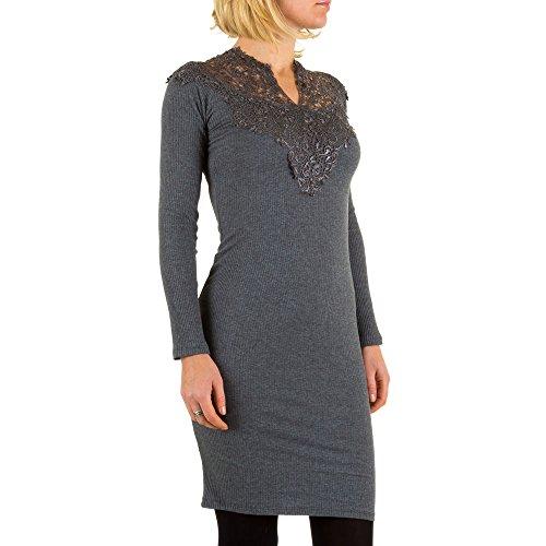 Rippstrick Spitzen Stretch Kleid Für Damen bei Ital-Design Grau