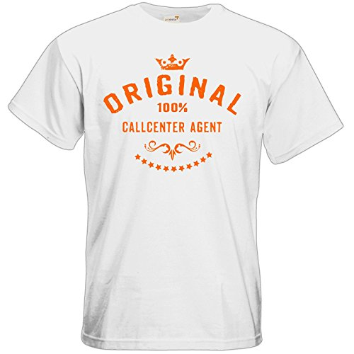 getshirts - RAHMENLOS® Geschenke - T-Shirt - Original 100 Prozent Callcenter Agent - orange - white M (Agent Orange T-shirt)