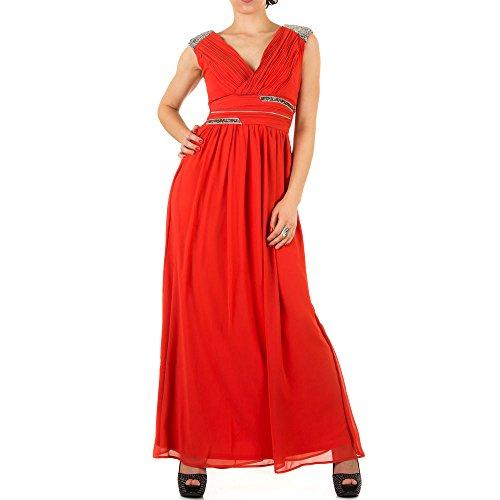 Damen Kleid, PAILLETTEN STRASS BALL ABEND MAXI KLEID, KL-KL0506 Rot